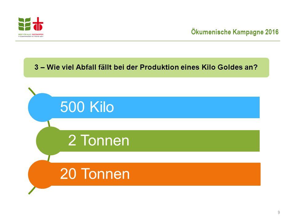 9 3 – Wie viel Abfall fällt bei der Produktion eines Kilo Goldes an? 500 Kilo 2 Tonnen 20 Tonnen