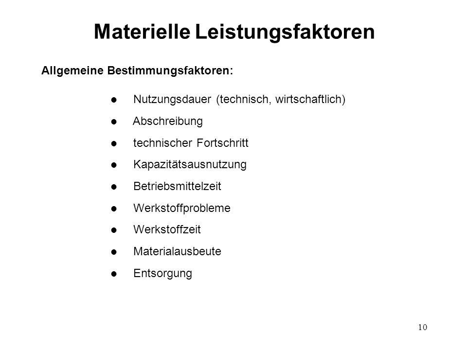 10 Materielle Leistungsfaktoren Allgemeine Bestimmungsfaktoren: l Nutzungsdauer (technisch, wirtschaftlich) l Abschreibung l technischer Fortschritt l