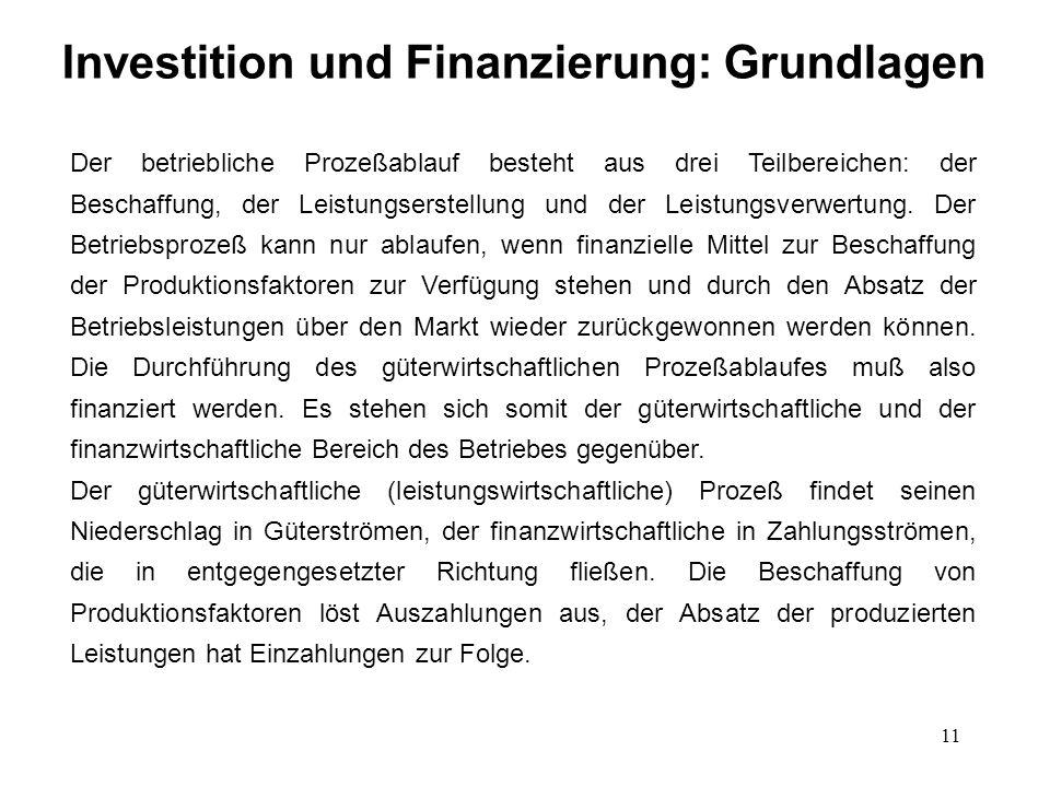 11 Investition und Finanzierung: Grundlagen Der betriebliche Prozeßablauf besteht aus drei Teilbereichen: der Beschaffung, der Leistungserstellung und