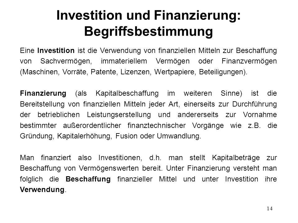 14 Investition und Finanzierung: Begriffsbestimmung Eine Investition ist die Verwendung von finanziellen Mitteln zur Beschaffung von Sachvermögen, imm