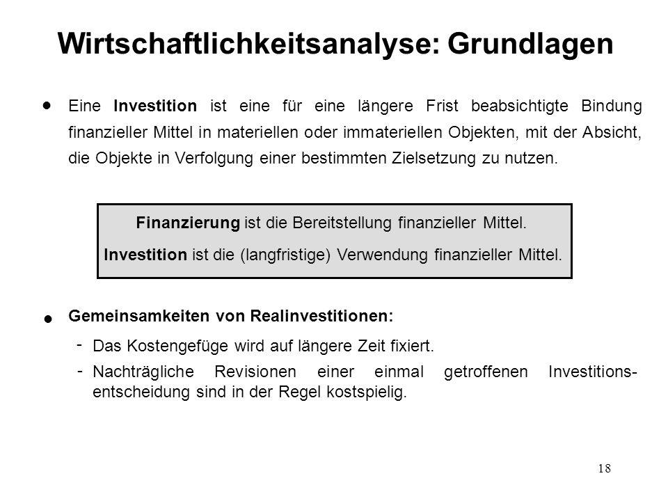 18 Eine Investition ist eine für eine längere Frist beabsichtigte Bindung finanzieller Mittel in materiellen oder immateriellen Objekten, mit der Absi