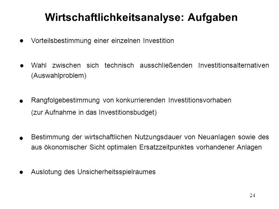 24 Wirtschaftlichkeitsanalyse: Aufgaben Vorteilsbestimmung einer einzelnen Investition Wahl zwischen sich technisch ausschließenden Investitionsaltern