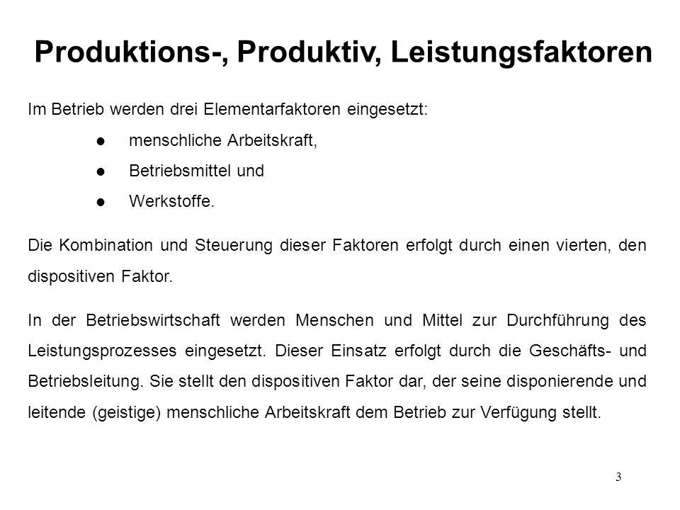 3 Produktions-, Produktiv, Leistungsfaktoren Im Betrieb werden drei Elementarfaktoren eingesetzt: l menschliche Arbeitskraft, l Betriebsmittel und l W