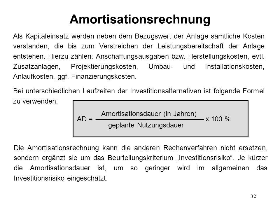 32 Amortisationsrechnung Als Kapitaleinsatz werden neben dem Bezugswert der Anlage sämtliche Kosten verstanden, die bis zum Verstreichen der Leistungs