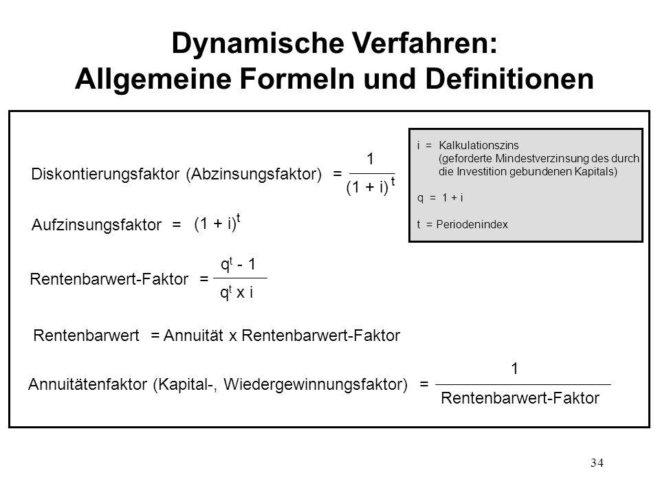 34 Dynamische Verfahren: Allgemeine Formeln und Definitionen Diskontierungsfaktor (Abzinsungsfaktor) = 1 (1 + i) t Aufzinsungsfaktor = (1 + i) t Rente