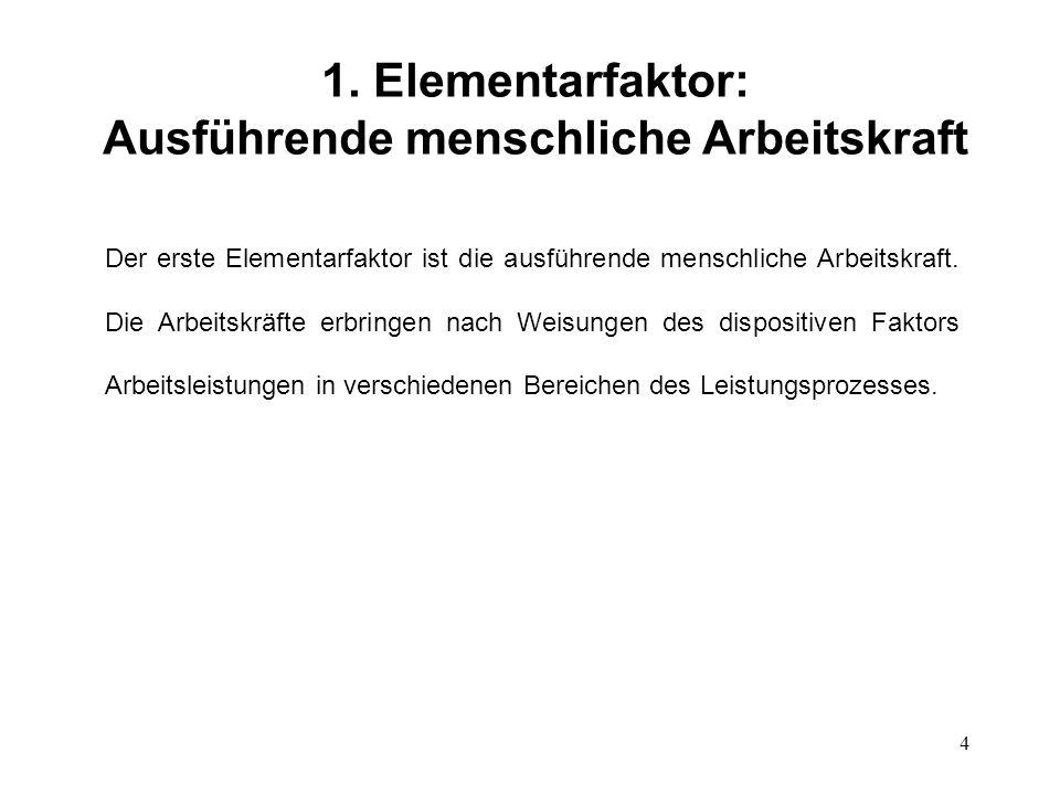 4 1. Elementarfaktor: Ausführende menschliche Arbeitskraft Der erste Elementarfaktor ist die ausführende menschliche Arbeitskraft. Die Arbeitskräfte e