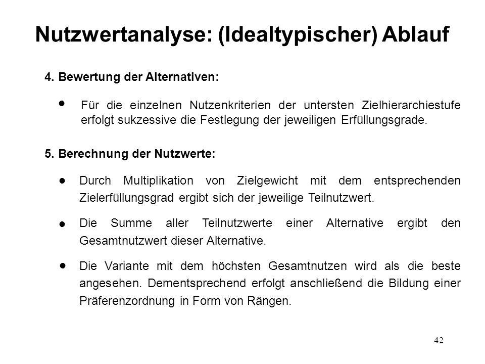 42 Nutzwertanalyse: (Idealtypischer) Ablauf 4. Bewertung der Alternativen: l l Für die einzelnen Nutzenkriterien der untersten Zielhierarchiestufe erf