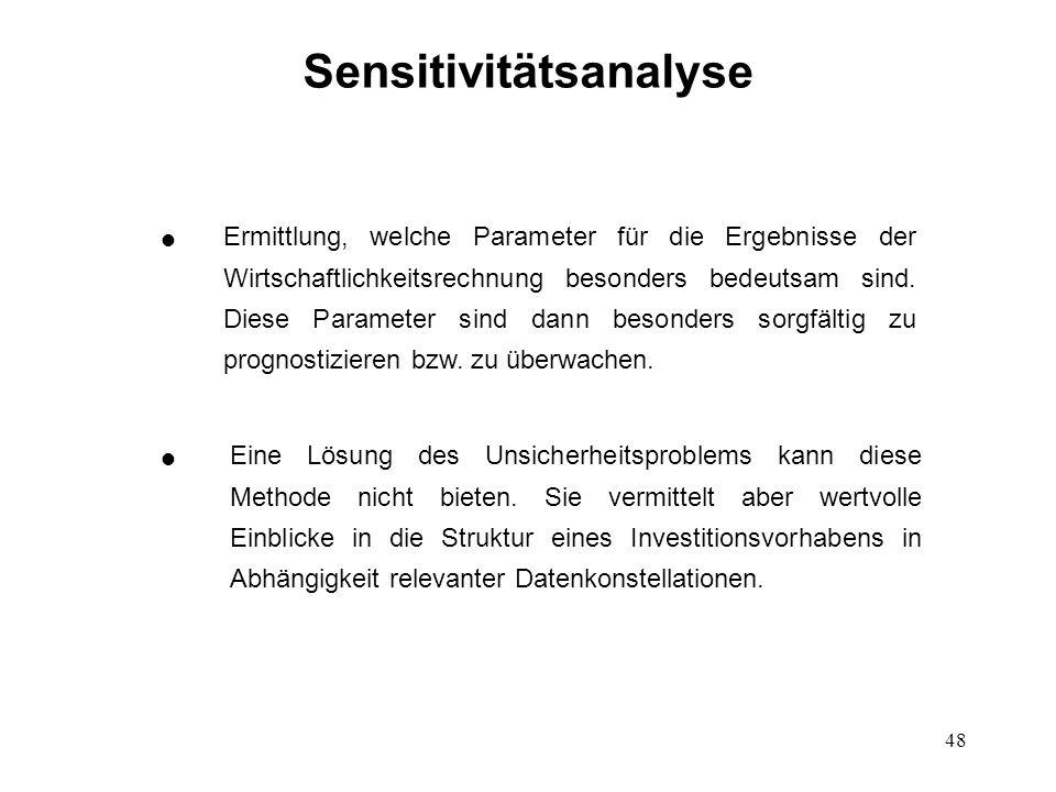 48 Sensitivitätsanalyse Eine Lösung des Unsicherheitsproblems kann diese Methode nicht bieten. Sie vermittelt aber wertvolle Einblicke in die Struktur