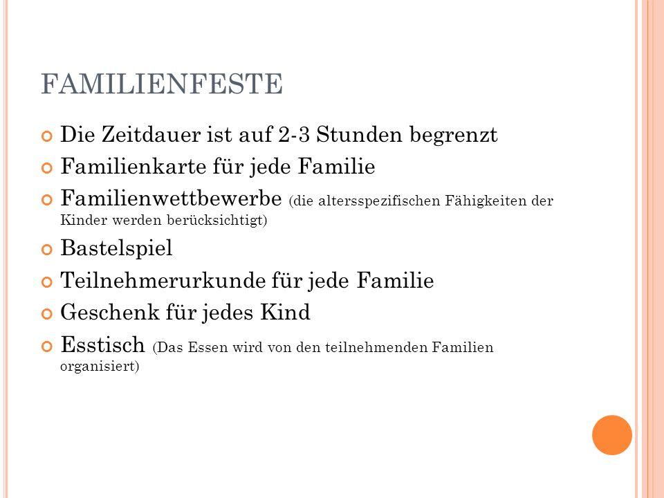 FAMILIENFESTE Die Zeitdauer ist auf 2-3 Stunden begrenzt Familienkarte für jede Familie Familienwettbewerbe (die altersspezifischen Fähigkeiten der Ki