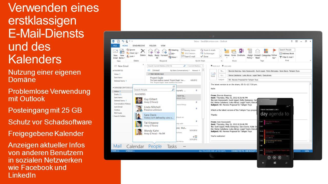 Nutzung einer eigenen Domäne Problemlose Verwendung mit Outlook Posteingang mit 25 GB Schutz vor Schadsoftware Freigegebene Kalender Anzeigen aktueller Infos von anderen Benutzern in sozialen Netzwerken wie Facebook und LinkedIn