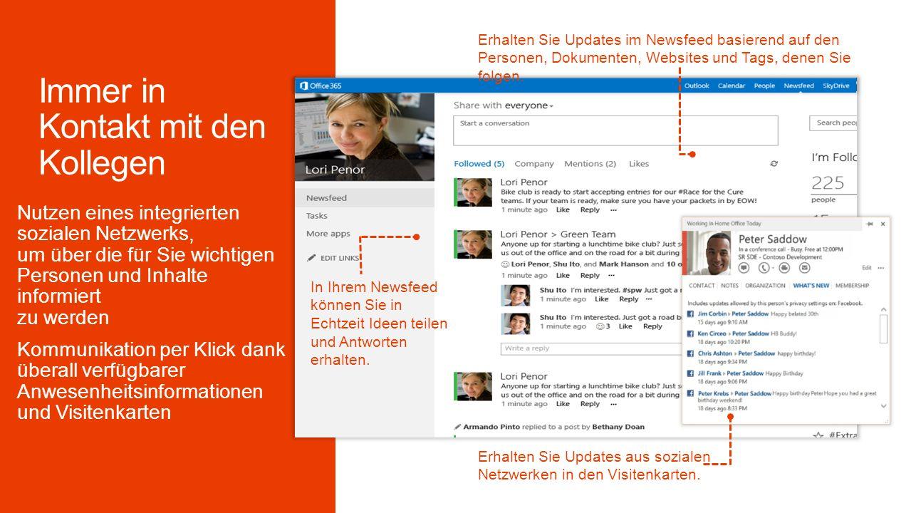Erhalten Sie Updates im Newsfeed basierend auf den Personen, Dokumenten, Websites und Tags, denen Sie folgen.