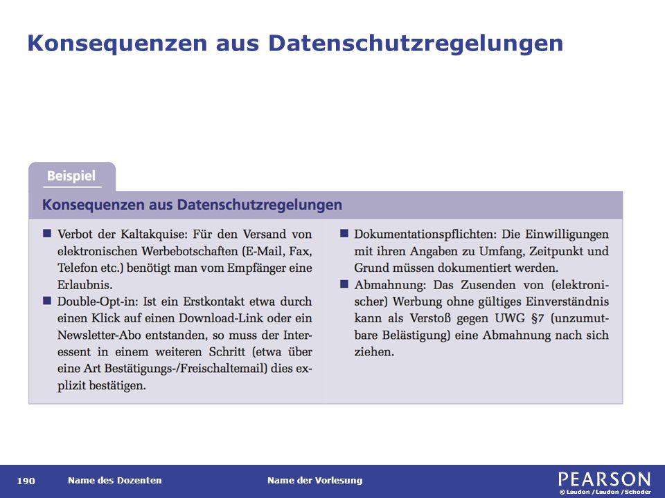 © Laudon /Laudon /Schoder Name des DozentenName der Vorlesung Konsequenzen aus Datenschutzregelungen 190