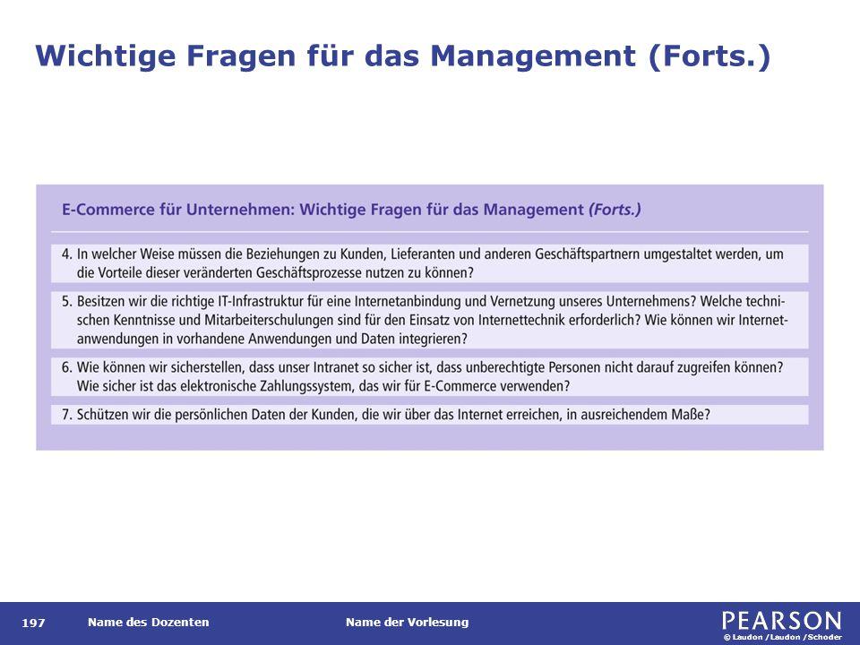 © Laudon /Laudon /Schoder Name des DozentenName der Vorlesung Wichtige Fragen für das Management (Forts.) 197