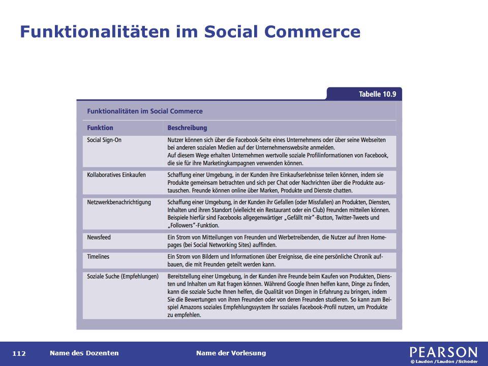 © Laudon /Laudon /Schoder Name des DozentenName der Vorlesung Funktionalitäten im Social Commerce 112