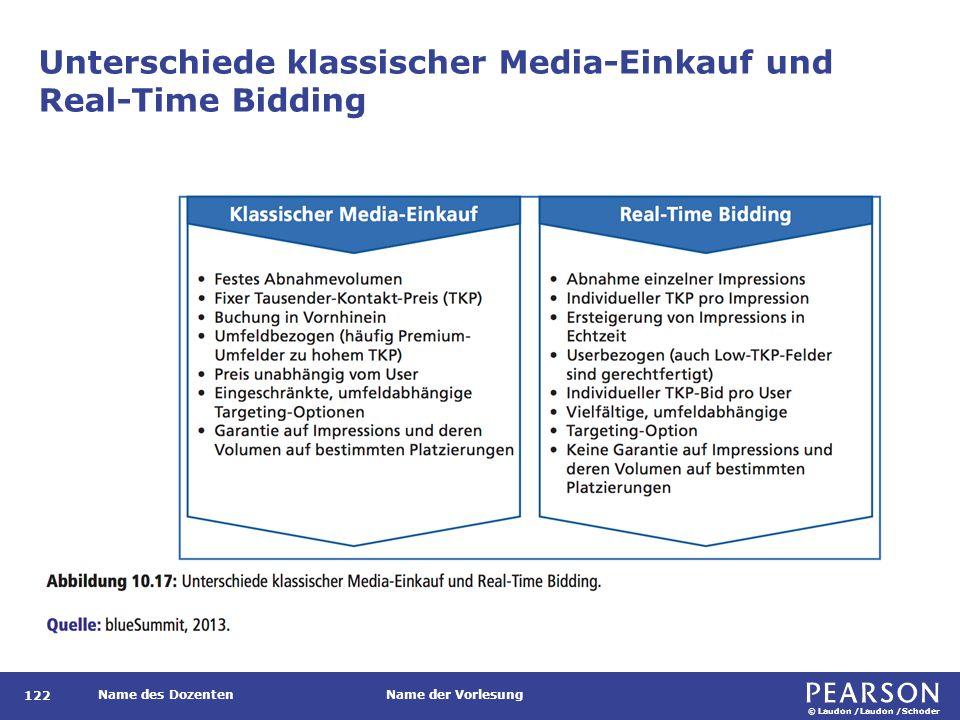 © Laudon /Laudon /Schoder Name des DozentenName der Vorlesung Unterschiede klassischer Media-Einkauf und Real-Time Bidding 122