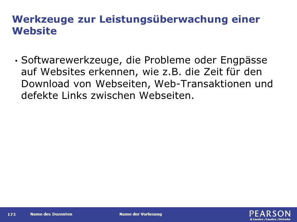 © Laudon /Laudon /Schoder Name des DozentenName der Vorlesung Werkzeuge zur Leistungsüberwachung einer Website Softwarewerkzeuge, die Probleme oder Engpässe auf Websites erkennen, wie z.B.