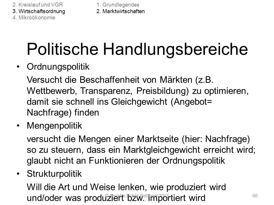 Politische Handlungsbereiche Ordnungspolitik Versucht die Beschaffenheit von Märkten (z.B.