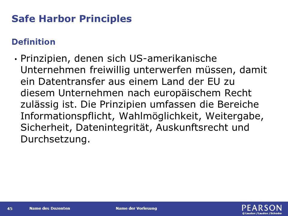 © Laudon /Laudon /Schoder Name des DozentenName der Vorlesung Safe Harbor Principles 45 Prinzipien, denen sich US-amerikanische Unternehmen freiwillig unterwerfen müssen, damit ein Datentransfer aus einem Land der EU zu diesem Unternehmen nach europäischem Recht zulässig ist.
