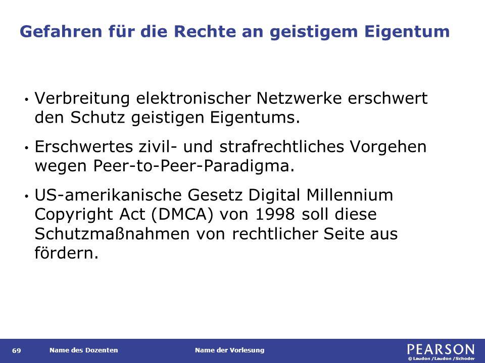 © Laudon /Laudon /Schoder Name des DozentenName der Vorlesung Gefahren für die Rechte an geistigem Eigentum 69 Verbreitung elektronischer Netzwerke erschwert den Schutz geistigen Eigentums.