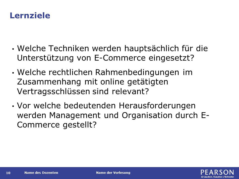© Laudon /Laudon /Schoder Name des DozentenName der Vorlesung Lernziele 10 Welche Techniken werden hauptsächlich für die Unterstützung von E-Commerce eingesetzt.