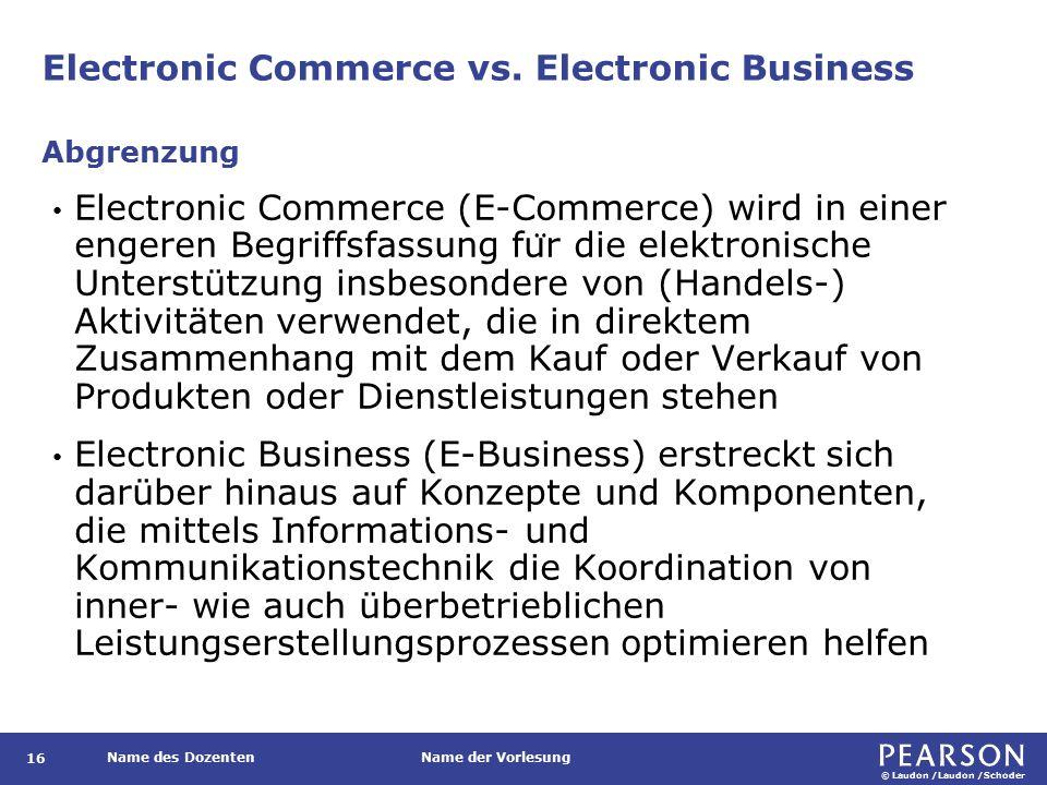 © Laudon /Laudon /Schoder Name des DozentenName der Vorlesung Electronic Commerce vs.