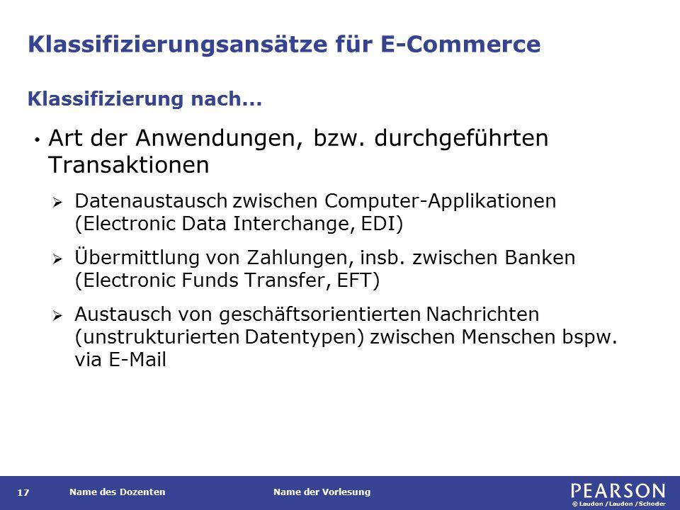 © Laudon /Laudon /Schoder Name des DozentenName der Vorlesung Klassifizierungsansätze für E-Commerce 17 Art der Anwendungen, bzw.
