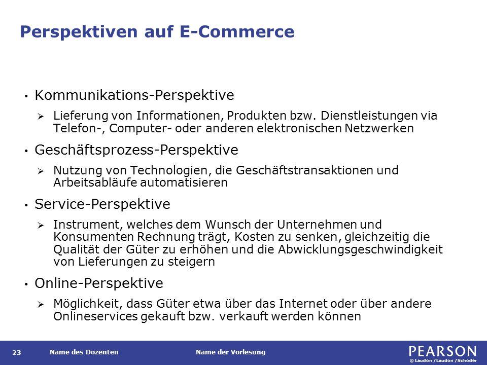 © Laudon /Laudon /Schoder Name des DozentenName der Vorlesung Perspektiven auf E-Commerce 23 Kommunikations-Perspektive  Lieferung von Informationen, Produkten bzw.