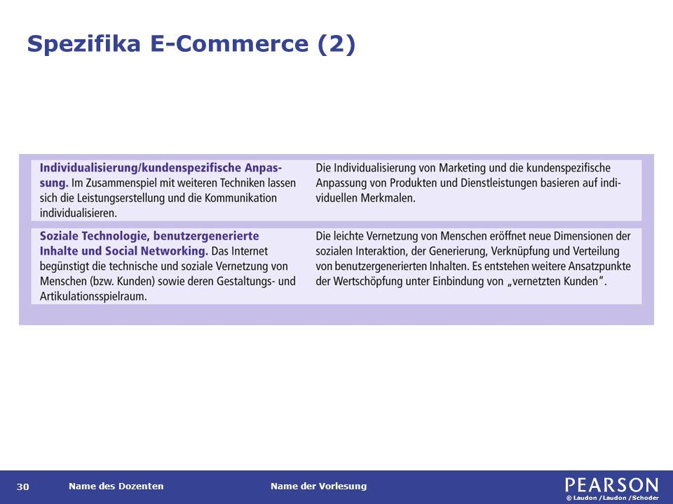 © Laudon /Laudon /Schoder Name des DozentenName der Vorlesung Spezifika E-Commerce (2) 30