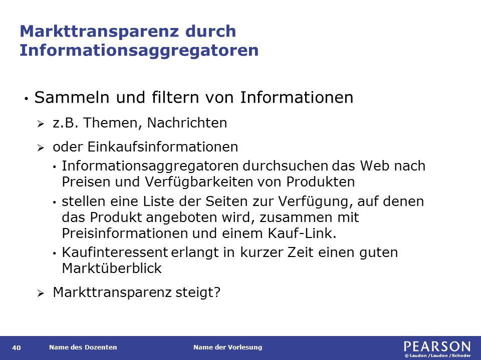 © Laudon /Laudon /Schoder Name des DozentenName der Vorlesung Markttransparenz durch Informationsaggregatoren 40 Sammeln und filtern von Informationen  z.B.