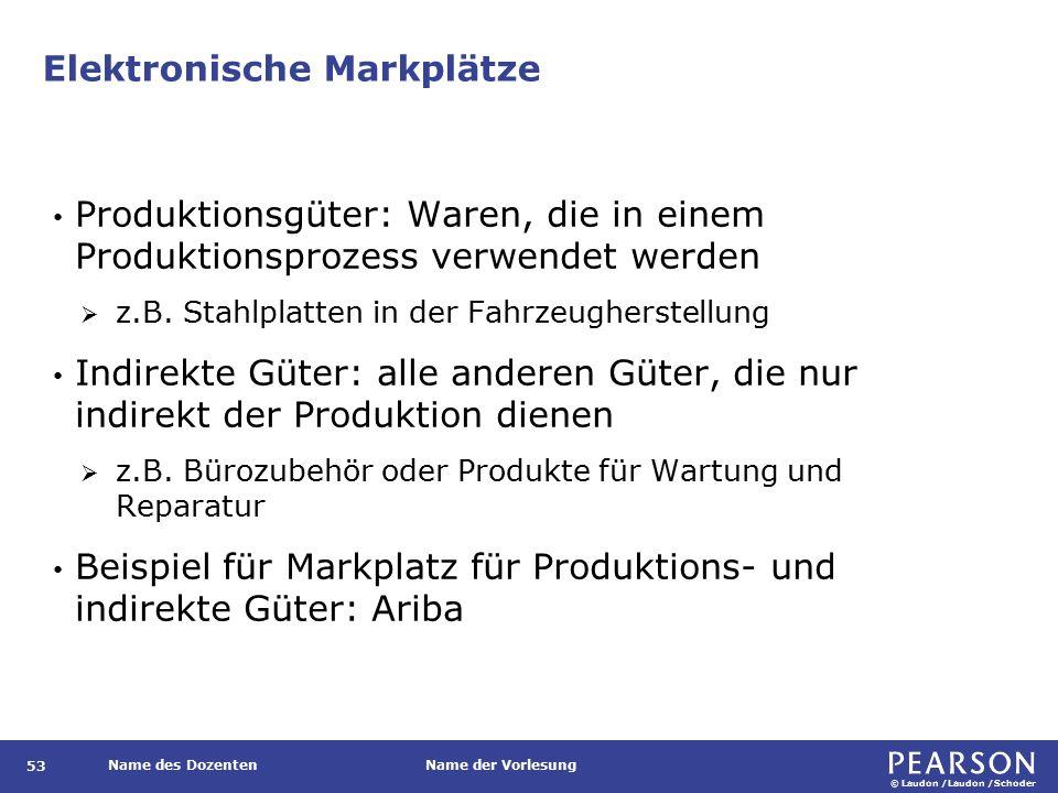 © Laudon /Laudon /Schoder Name des DozentenName der Vorlesung Elektronische Markplätze 53 Produktionsgüter: Waren, die in einem Produktionsprozess verwendet werden  z.B.