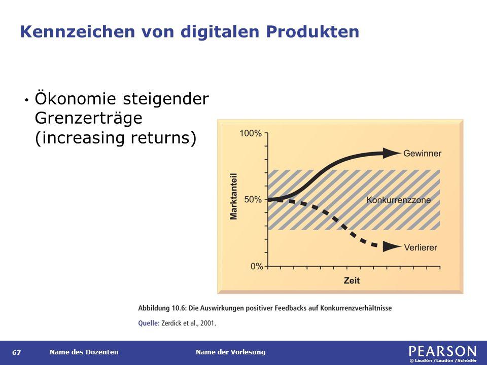© Laudon /Laudon /Schoder Name des DozentenName der Vorlesung Kennzeichen von digitalen Produkten 67 Ökonomie steigender Grenzerträge (increasing returns)