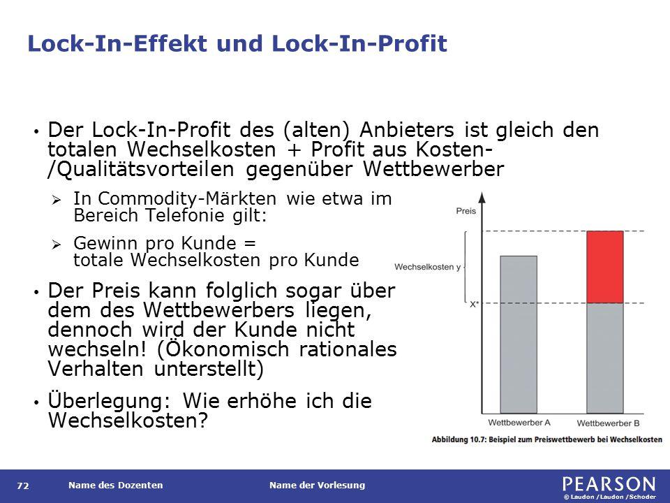 © Laudon /Laudon /Schoder Name des DozentenName der Vorlesung Lock-In-Effekt und Lock-In-Profit 72 Der Lock-In-Profit des (alten) Anbieters ist gleich den totalen Wechselkosten + Profit aus Kosten- /Qualitätsvorteilen gegenüber Wettbewerber  In Commodity-Märkten wie etwa im Bereich Telefonie gilt:  Gewinn pro Kunde = totale Wechselkosten pro Kunde Der Preis kann folglich sogar über dem des Wettbewerbers liegen, dennoch wird der Kunde nicht wechseln.