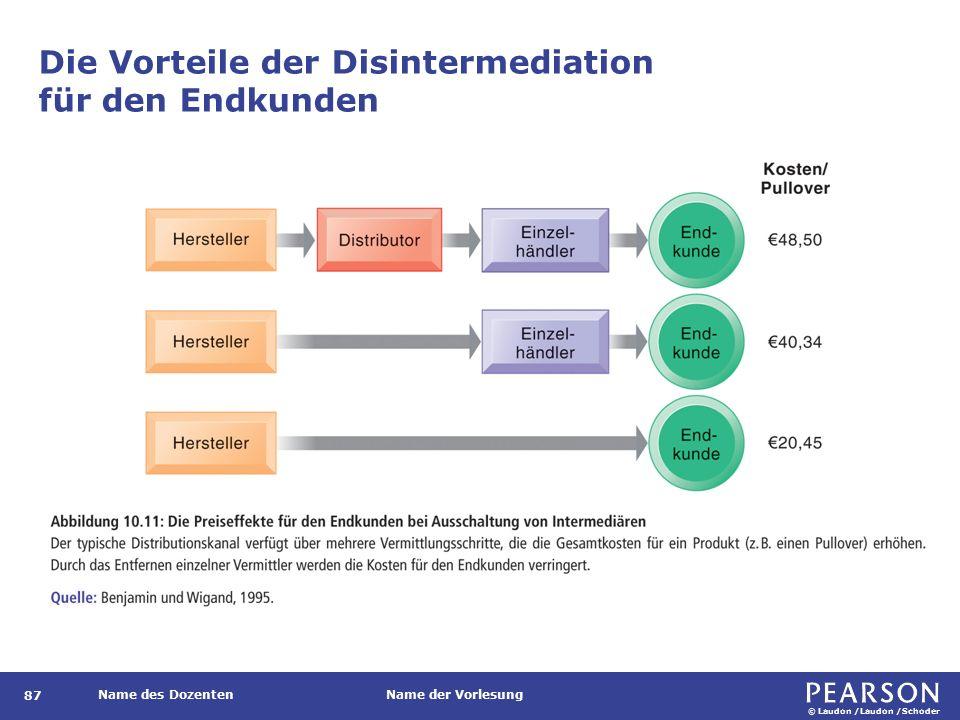 © Laudon /Laudon /Schoder Name des DozentenName der Vorlesung Die Vorteile der Disintermediation für den Endkunden 87