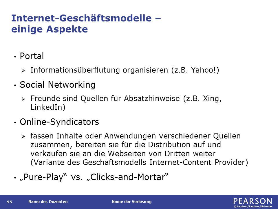 © Laudon /Laudon /Schoder Name des DozentenName der Vorlesung Internet-Geschäftsmodelle – einige Aspekte Portal  Informationsüberflutung organisieren (z.B.