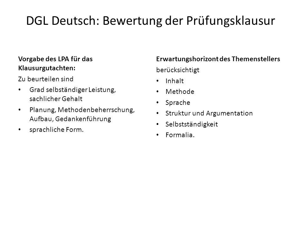 DGL Deutsch: Bewertung der Prüfungsklausur Vorgabe des LPA für das Klausurgutachten: Zu beurteilen sind Grad selbständiger Leistung, sachlicher Gehalt Planung, Methodenbeherrschung, Aufbau, Gedankenführung sprachliche Form.