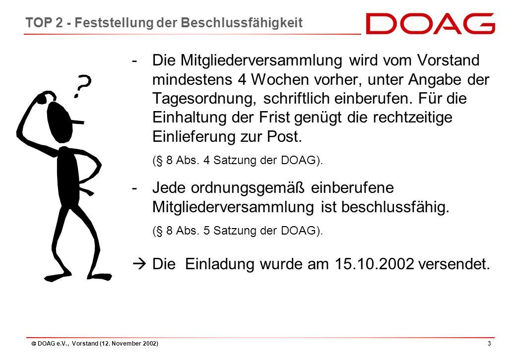  DOAG e.V., Vorstand (12. November 2002)44 TOP 8 - Budgetplan 2003