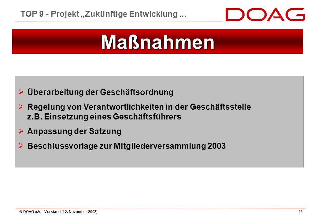 """ DOAG e.V., Vorstand (12. November 2002)46 TOP 9 - Projekt """"Zukünftige Entwicklung..."""