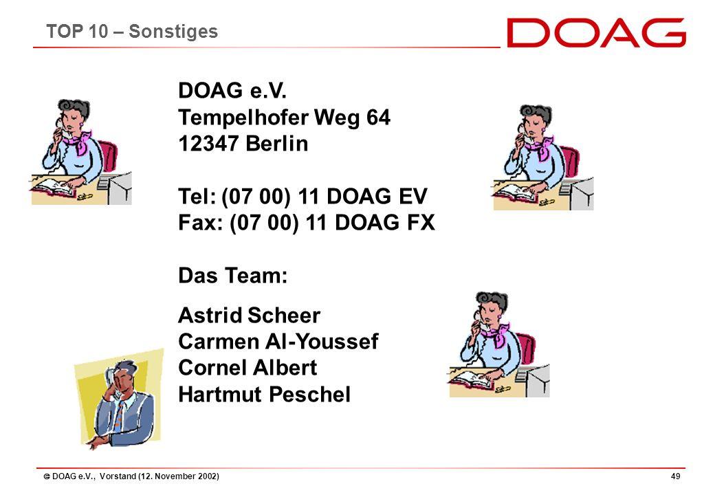  DOAG e.V., Vorstand (12. November 2002)49 DOAG e.V.