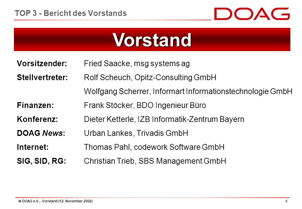 """ DOAG e.V., Vorstand (12.November 2002)46 TOP 9 - Projekt """"Zukünftige Entwicklung..."""