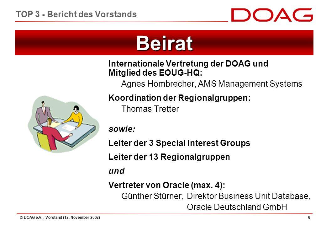  DOAG e.V., Vorstand (12. November 2002)37 TOP 4 - Kassenbericht: Bilanz 2001