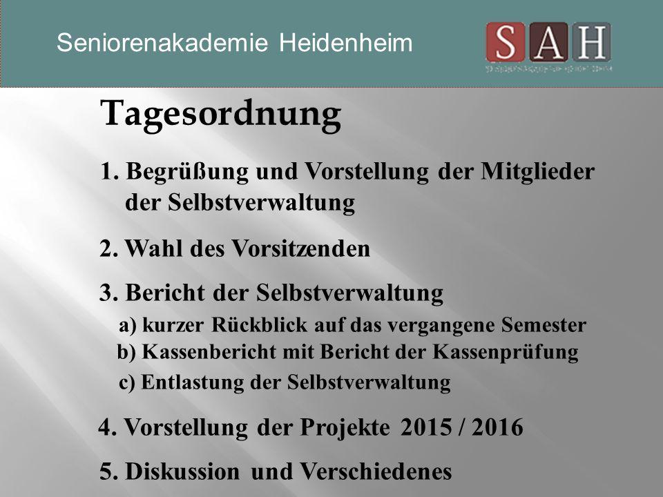 Tagesordnung 1. Begrüßung und Vorstellung der Mitglieder der Selbstverwaltung 2.
