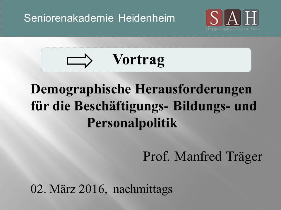 Vortrag Demographische Herausforderungen für die Beschäftigungs- Bildungs- und Personalpolitik Prof.