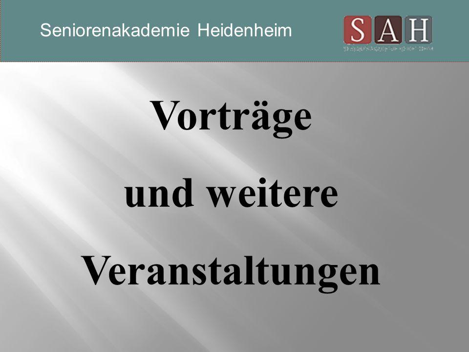 Sprachen Französisch Monika Herrmann 12. Oktober, wöchentlich Seniorenakademie Heidenheim