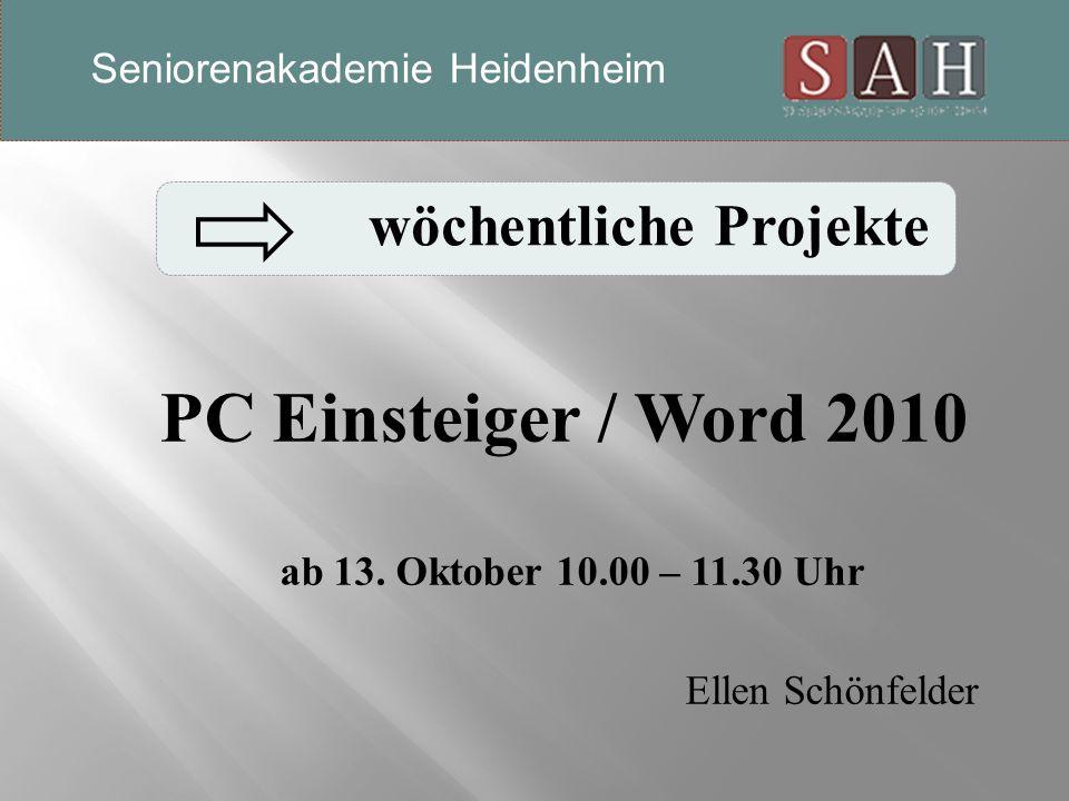 PC Einsteiger / Word 2010 ab 13.