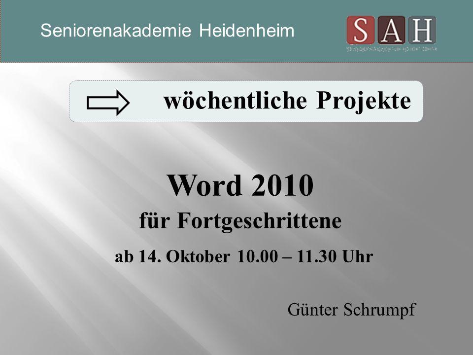 Word 2010 für Fortgeschrittene ab 14.