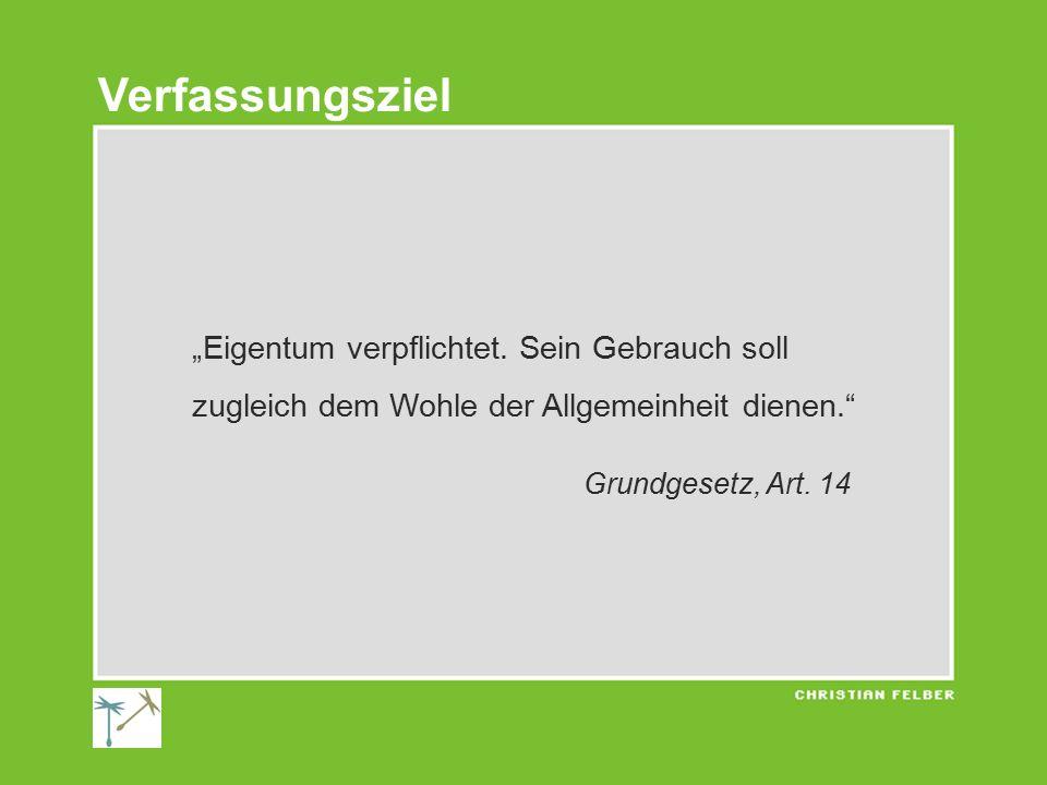"""""""Eigentum verpflichtet. Sein Gebrauch soll zugleich dem Wohle der Allgemeinheit dienen."""" Grundgesetz, Art. 14 Verfassungsziel"""