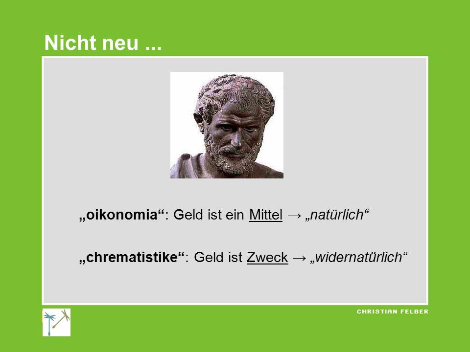 """""""oikonomia : Geld ist ein Mittel → """"natürlich """"chrematistike : Geld ist Zweck → """"widernatürlich Nicht neu..."""