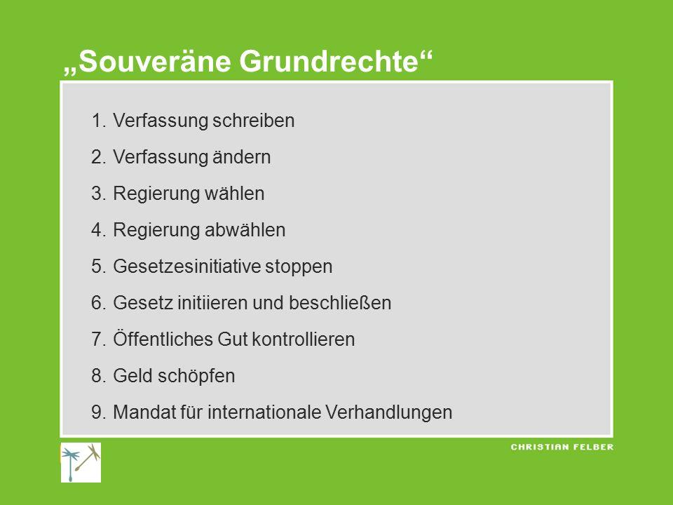 1.Verfassung schreiben 2. Verfassung ändern 3. Regierung wählen 4.