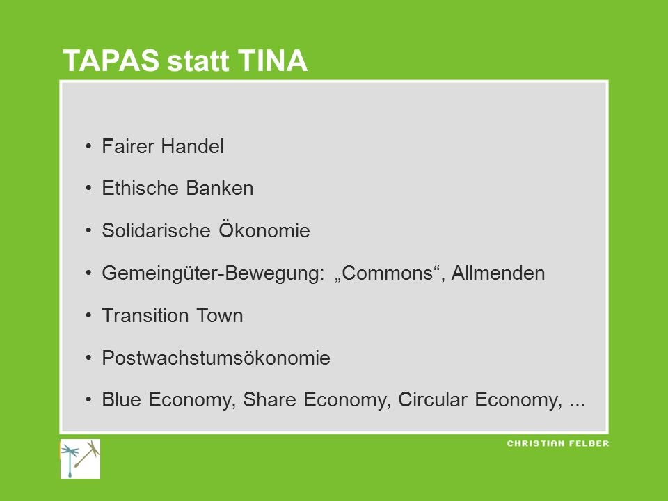 "Fairer Handel Ethische Banken Solidarische Ökonomie Gemeingüter-Bewegung: ""Commons"", Allmenden Transition Town Postwachstumsökonomie Blue Economy, Sha"