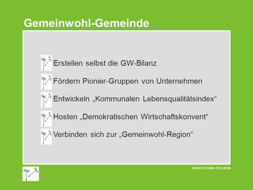 """1) Erstellen selbst die GW-Bilanz 2) Fördern Pionier-Gruppen von Unternehmen 3) Entwickeln """"Kommunalen Lebensqualitätsindex"""" 4) Hosten """"Demokratischen"""